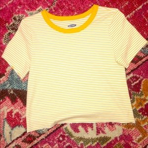 old navy yellow striped cropped top